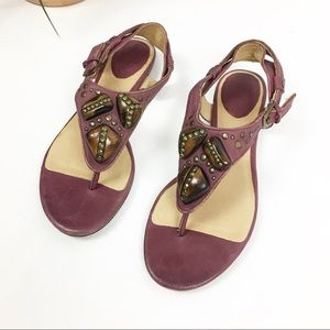 FRYE Laurel Ornament Purple Leather Sandal Sz 6.5